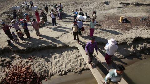 Burmese People Leaving And Boarding Boat stock footage