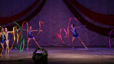 Girls Gymnasts Show Presentation stock footage