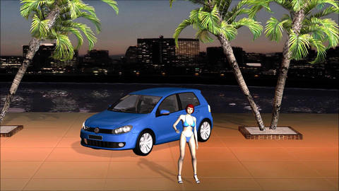 Car VW Golf With Model Beauty Girl View Tokyo River Side Live Environment Footage