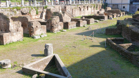 The Ruins. Ludus Magnus. Rome, Italy. 1280x720 Footage