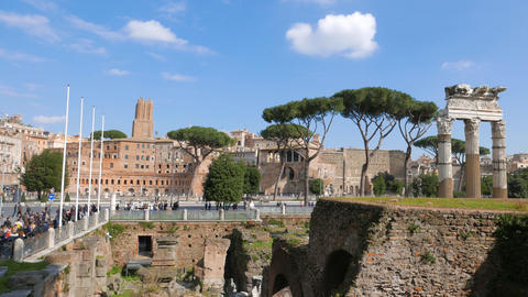 Ruins Of The Roman Forum. Rome, Italy stock footage