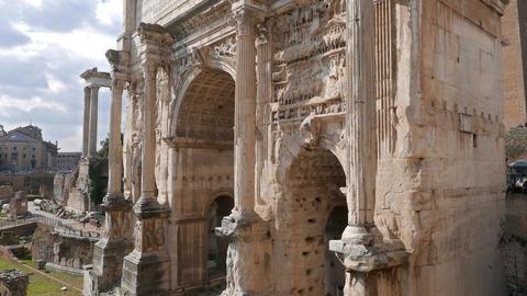 Septimius Severus Arch. Rome, Italy Footage