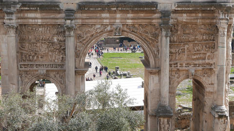 Septimius Severus Arch, Roman Forum. Rome, Italy Footage
