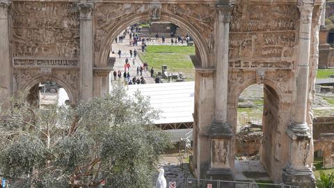Roman Forum, Septimius Severus Arch. Rome, Italy Footage