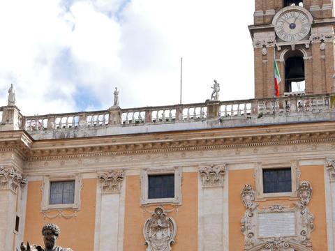 Statue of Marcus Aurelius and Comune Di Roma. Rome, Italy. 640x480 Footage