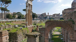 The ruins of the Roman Forum. Rome, Italy. 4K Footage