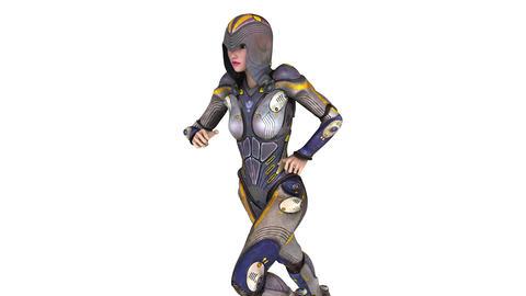 走るサイボーグ女性 Animation