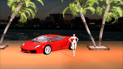 Sport Car Lamborghini Beauty Girl on The Dark City Live Environment Footage