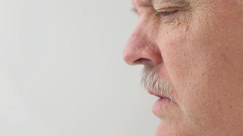 profile of senior man talking Footage