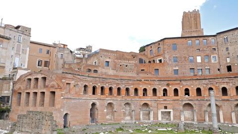 Trajan's market, Trajan Forum, Roma, Italy. 4K Footage