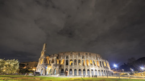 Night Colosseum. Rome, Italy. Time Lapse. 4K Footage