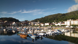 muros galicia sunrise timelapse boats spain coast harbour 4k Footage
