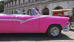 Old Purple Car In Old Havana,Cuba stock footage