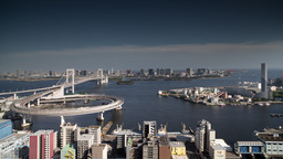 tokyo japan city rainbow bridge skyline harbour 4k Footage