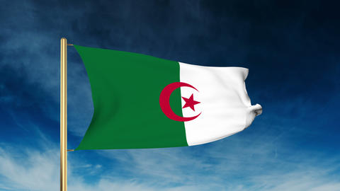 Algeria flag slider style. Waving in the wind with cloud background animation Animation