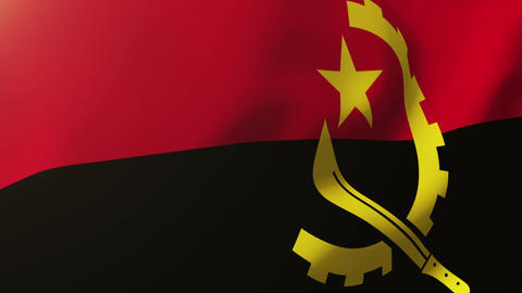 Angola flag waving in the wind. Looping sun rises style. Animation loop ภาพวิดีโอ