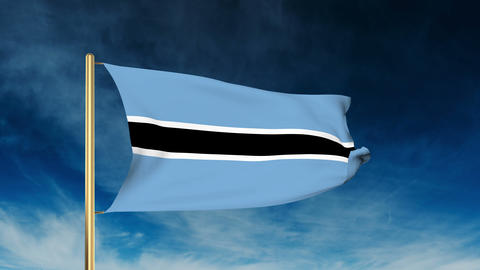 Botswana flag slider style. Waving in the wind with cloud background animation Footage