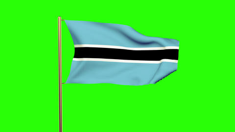 Botswana flag waving in the wind. Green screen, alpha matte. Loopable animation Animation