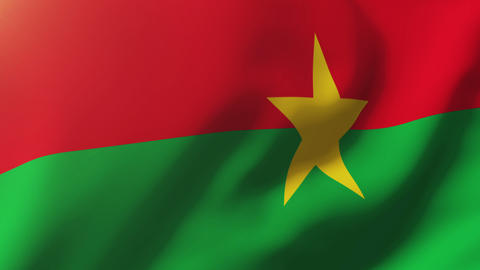 Burkina Faso flag waving in the wind. Looping sun rises style. Animation loop Animation