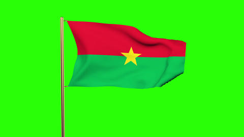 Burkina Faso flag waving in the wind. Green screen, alpha matte. Loopable animat Animation