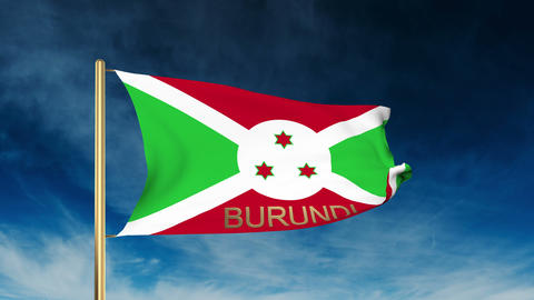Burundi flag slider style with title. Waving in the wind with cloud background a CG動画
