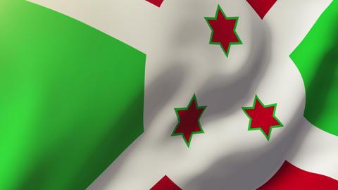 Burundi flag waving in the wind. Looping sun rises style. Animation loop Animation