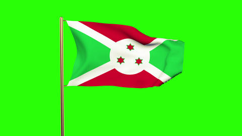 Burundi flag waving in the wind. Green screen, alpha matte. Loopable animation CG動画