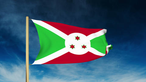 Burundi flag slider style. Waving in the wind with cloud background animation CG動画