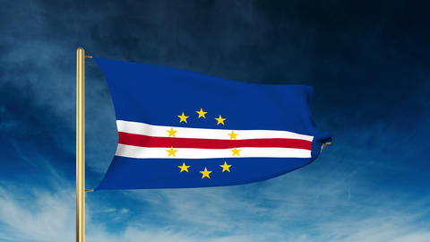 Cape Verde flag slider style. Waving in the wind with cloud background animation Animation