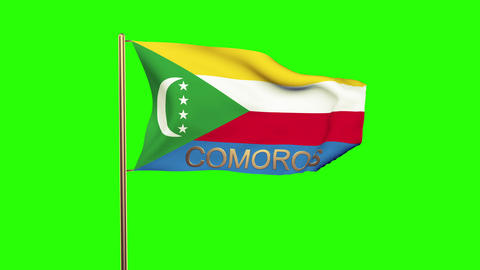 Comoros flag with title waving in the wind. Looping sun rises style. Animation l Animation