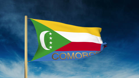 Comoros flag slider style with title. Waving in the wind with cloud background a Animation