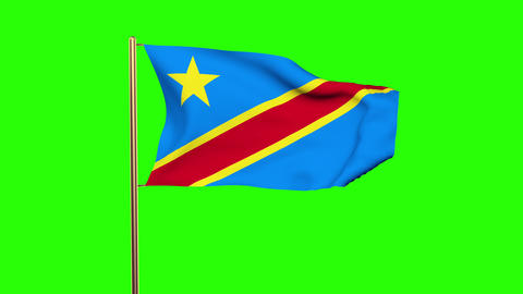 Democratic Republic of the Congo flag waving in the wind. Green screen, alpha ma Animation