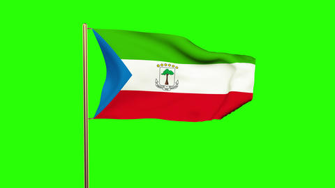 Equatorial Guinea flag waving in the wind. Green screen, alpha matte. Loopable a Animation