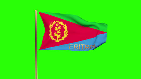 Eritrea flag with title waving in the wind. Looping sun rises style. Animation l CG動画