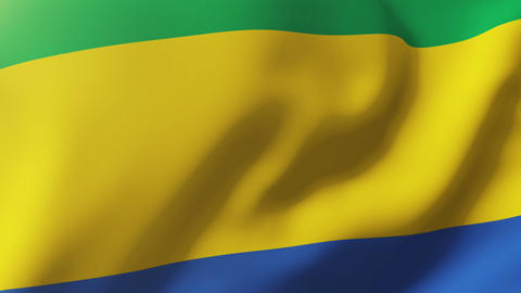 Gabon flag waving in the wind. Looping sun rises style. Animation loop Animation