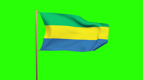 Gabon flag waving in the wind. Green screen, alpha matte. Loopable animation Animation