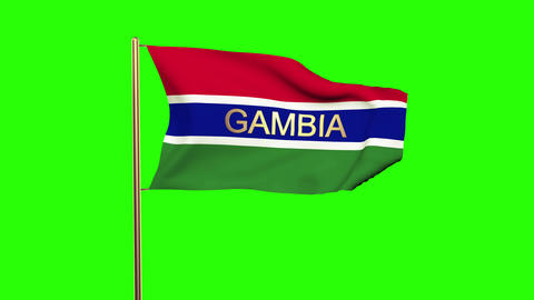 Gambia flag with title waving in the wind. Looping sun rises style. Animation lo Animation
