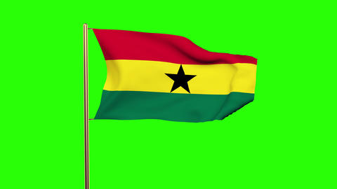 Ghana flag waving in the wind. Green screen, alpha matte. Loopable animation Animation