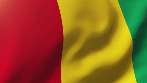 Guinea flag waving in the wind. Looping sun rises style. Animation loop Animation