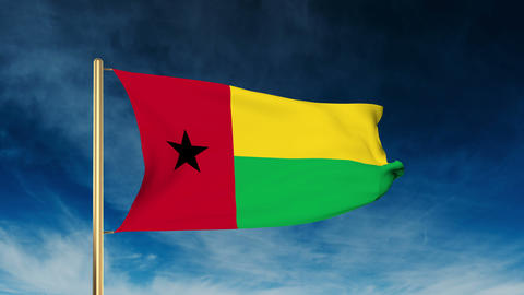 Guinea-Bissau flag slider style. Waving in the wind with cloud background animat Animation