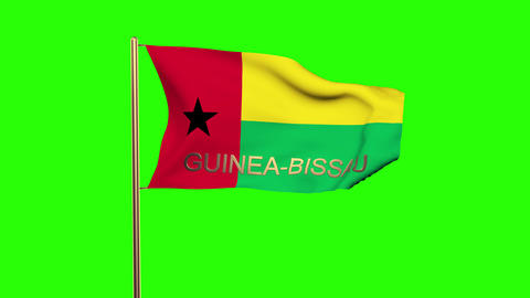Guinea-Bissau flag with title waving in the wind. Looping sun rises style. Anima Animation