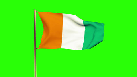 Ivory Coast flag waving in the wind. Green screen, alpha matte. Loopable animati Animation