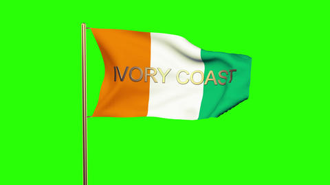 Ivory Coast flag with title waving in the wind. Looping sun rises style. Animati Animation