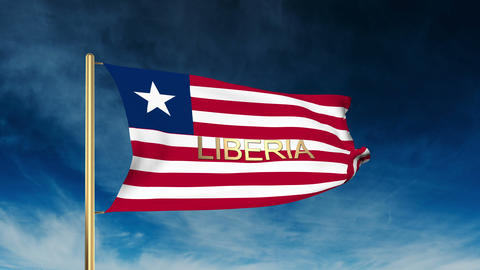 Liberia flag slider style with title. Waving in the wind with cloud background a Animation
