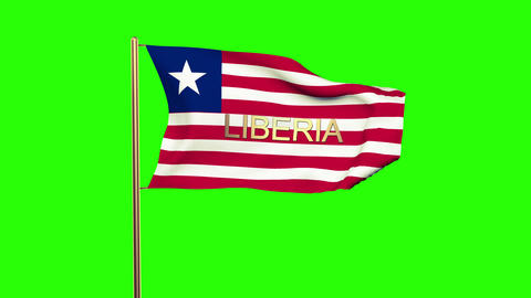 Liberia flag with title waving in the wind. Looping sun rises style. Animation l CG動画