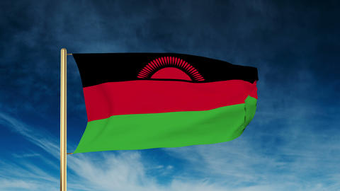 Malawi flag slider style. Waving in the wind with cloud... Stock Video Footage