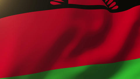 Malawi flag waving in the wind. Looping sun rises style. Animation loop Animation