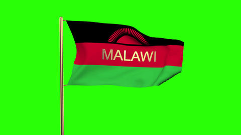 Malawi flag with title waving in the wind. Looping sun rises style. Animation lo Animation