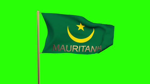 Mauritania flag with title waving in the wind. Looping sun rises style. Animatio Animation