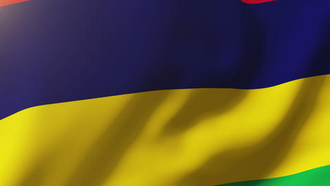 Mauritius flag waving in the wind. Looping sun rises style. Animation loop Animation
